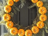 pumpkin and grapevine wreath