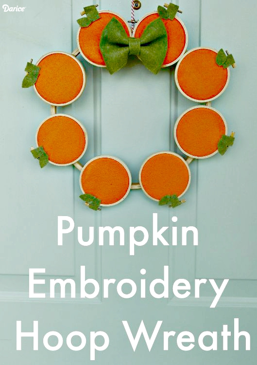 embroidery hoop pumpkin wreath