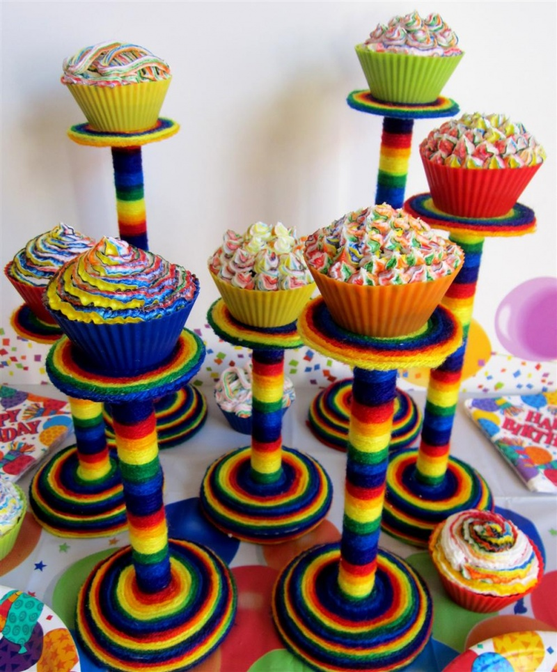 Diy Rainbow Colored Cupcake Stands