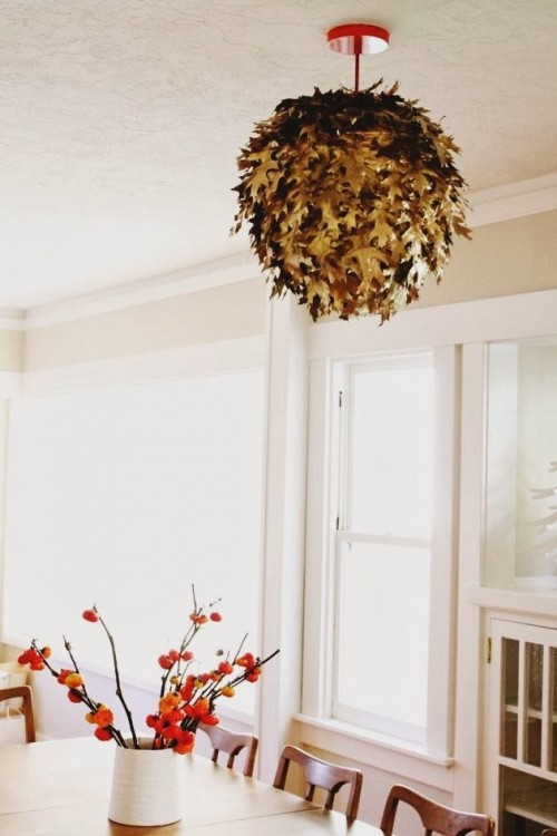 DIY Real Fallen Leaves Lantern