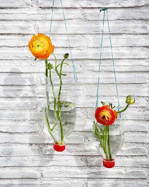 Diy recycled upside down vases