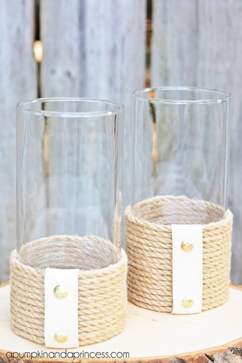 Diy Rope Hurricane Vase Or Candle Holder