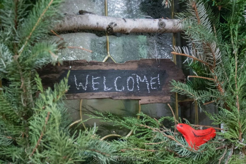 Picture Of diy ruby bird on a window holiday wreath  4