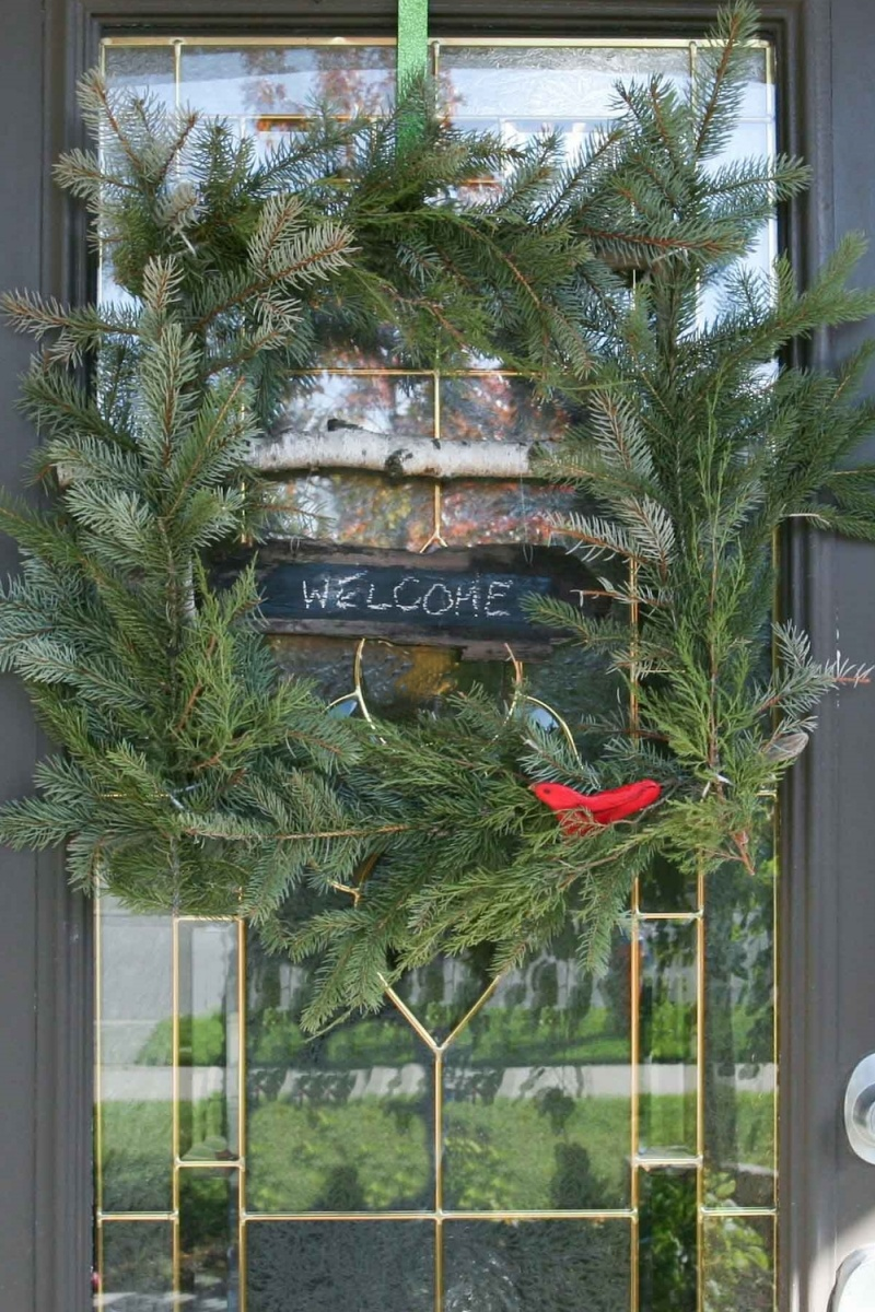 Picture Of diy ruby bird on a window holiday wreath  5