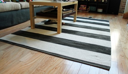 DIY Rug Renovation Into A Striped One