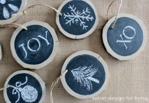 log slice chalkboard ornaments (via satoridesignforliving)