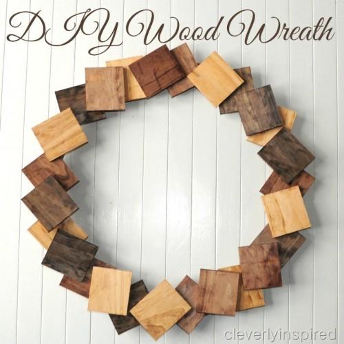 wood wreath (via cleverlyinspired)
