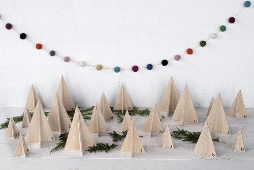 wooden tree advent calendar via themerrythought - Rustic Christmas Decorations
