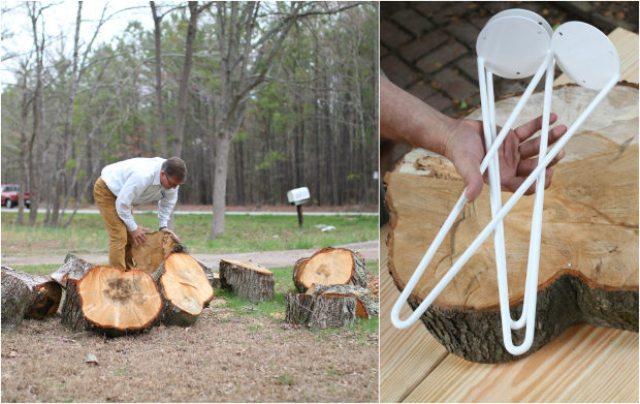 Picture Of diy rustic end table from a tree stump slice  2