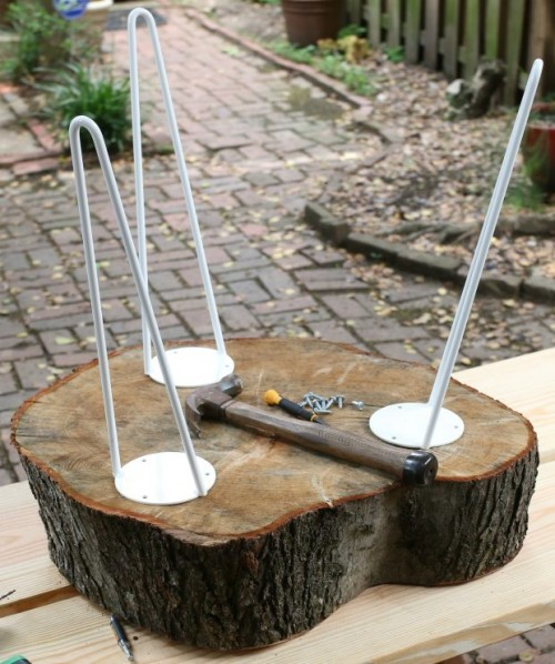 Diy rustic end table from tree stump slice shelterness for Tree trunk slice ideas