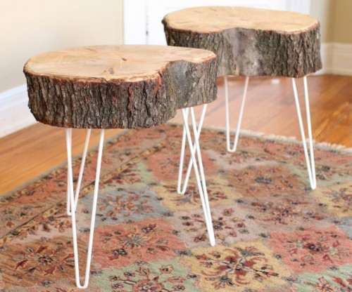 Diy Rustic End Table From Tree Stump Slice Shelterness