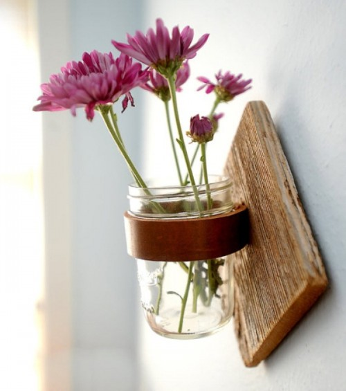 diy rustic mason jar sconce shelterness. Black Bedroom Furniture Sets. Home Design Ideas