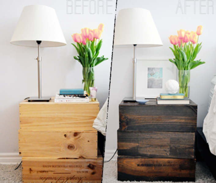 Picture of diy rustic nightstand of old wine boxes for Diy rustic nightstand