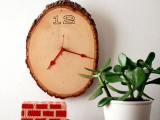 wood slice rustic clock