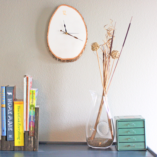 wood slab wall clock