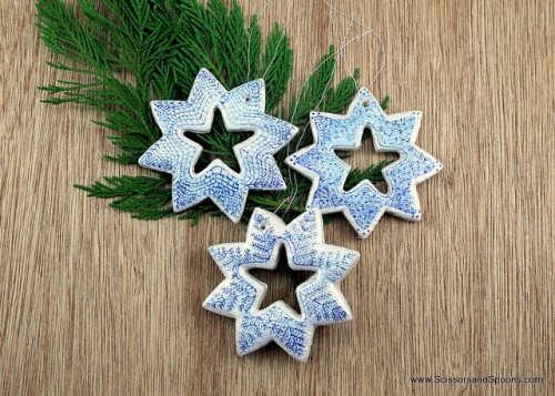 snowflake salt dough ornaments decorated with a pen (via shelterness)