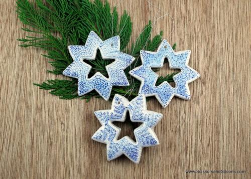 snowflake salt dough ornaments decorated with a pen (via shelterness)