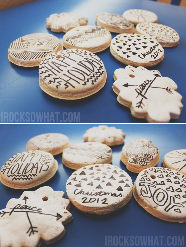 black and white salt dough ornaments