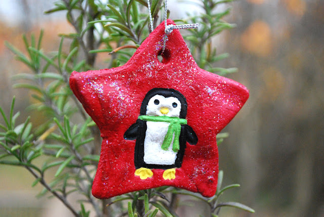 penguin star ornaments of salt dough
