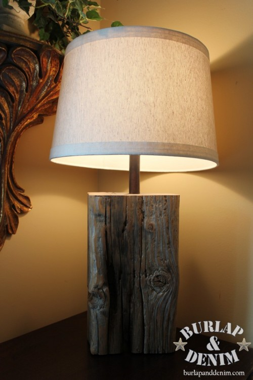 DIY Salvaged Wood Tabletop Lamp