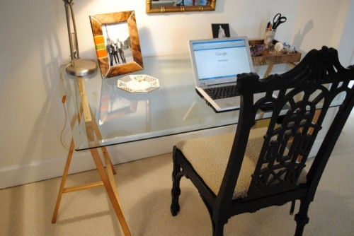 DIY Sawhorse Desk With A Glass Top