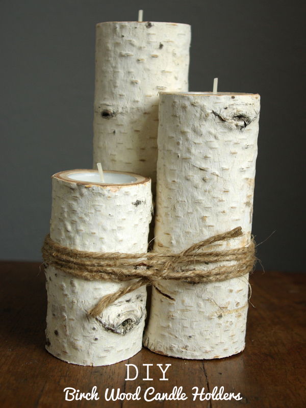 birch wod candle holders