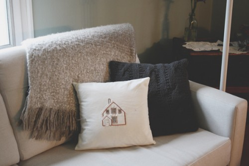 embroidered house pillow (via thecommoncreative)