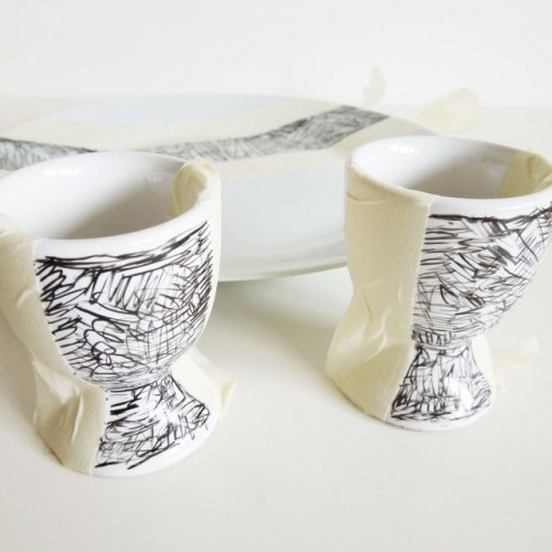 Diy Scribble Decorated Breakfast Set