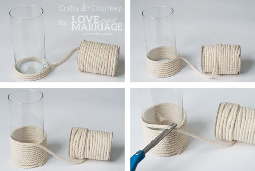 DIY Sea Inpired Vase Wrapped With Rope
