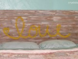 LOVE headboard with whitewashed touches