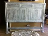 dark headboard renovated into a whitewashed one