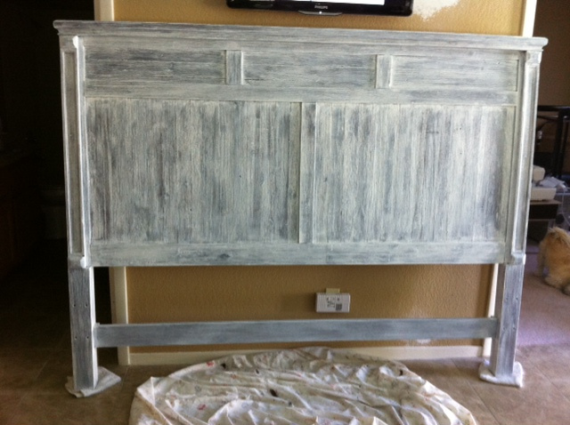 dark headboard renovated into a whitewashed one