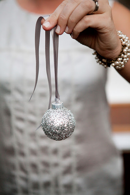 DIY Silver Glitter Ornaments