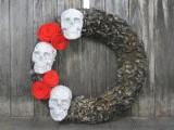 glittery skulls Halloween wreath