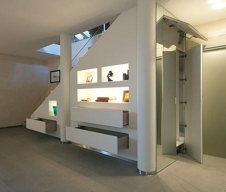 Stairwell Storage 7 diy smart stairs storage tutorials - shelterness