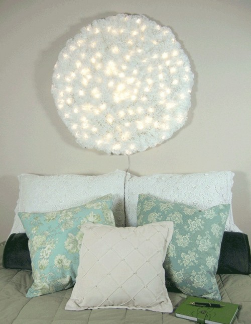 snowball lamp of coffee filters (via shelterness)