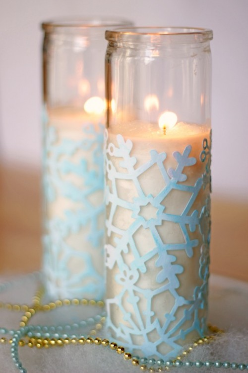 DIY Snowflake Winter Votives
