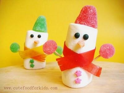 Marshmallow snowman (via cutefoodforkids)