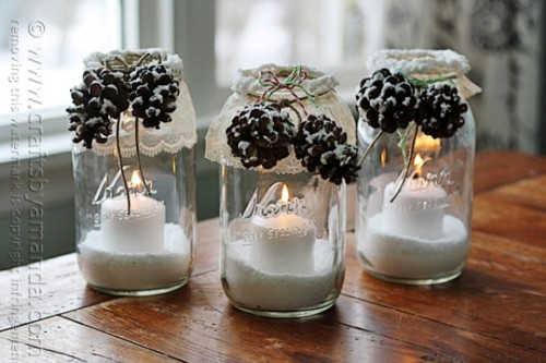 Diy Snowy Pinecone Candle Jars