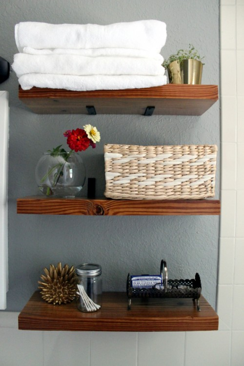 Floating Bathroom Shelves (via Turningithome)