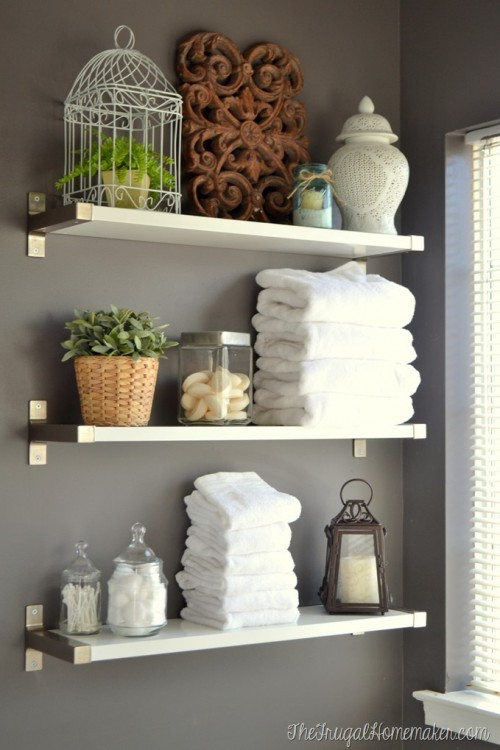 17 diy space saving bathroom shelves and storage ideas shelterness for Bathroom shelving ideas for small spaces