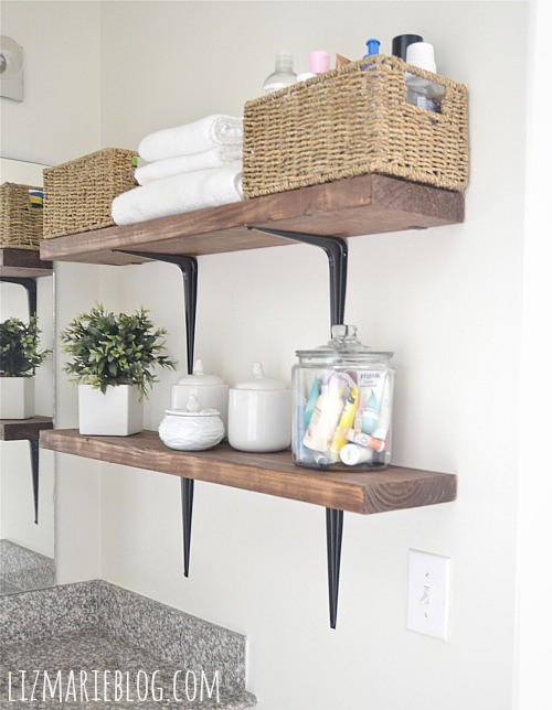 Nice Rustic Bathroom Shelves (via Lizmarieblog)