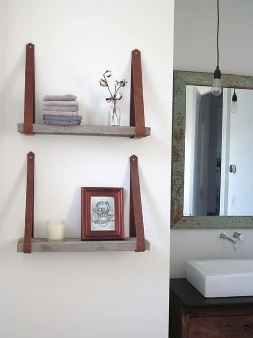 recycled shelving with leather hangers (via madebyrachel)