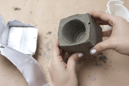 Diy spray painted concrete planters shelterness for How to clean off spray paint on concrete