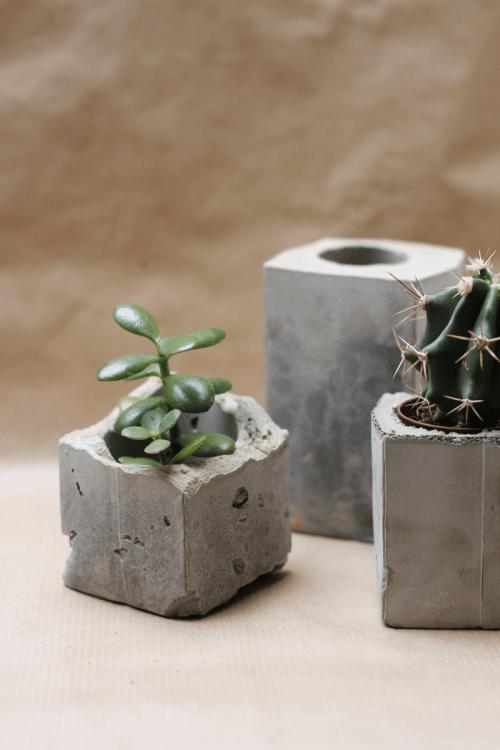 Diy spray painted concrete planters shelterness for Painting concrete pots