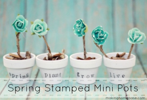 DIY Spring Decor Stamped Pots