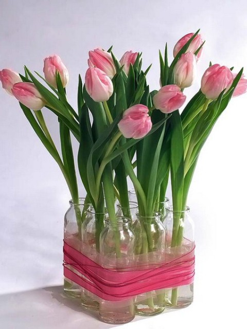 Diy Spring Rose Tulips Centerpiece