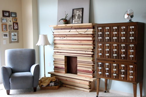 DIY Stacked Wood Fireplace Mantel