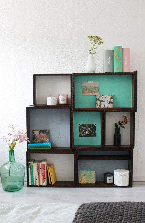 DIY Stained Shelves With Pastel Bottoms
