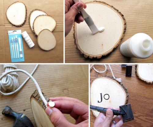 DIY Stamped Wood Christmas OrnamentsShelterness